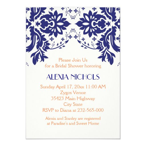 Coral Colored Wedding Invitations: Damask Navy Blue, Coral Wedding Bridal Shower 5x7 Paper