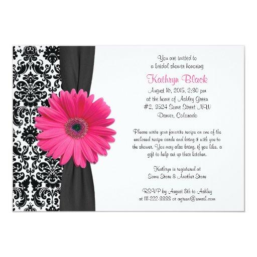 Hot Pink Gerbera Daisy White Wedding Invitation 5 X 7