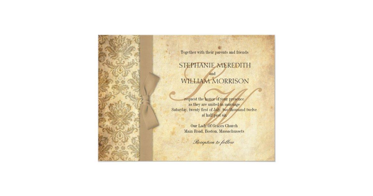 Ivory Wedding Invitation Kits: Damask Vintage Ivory Bow Wedding Invitation