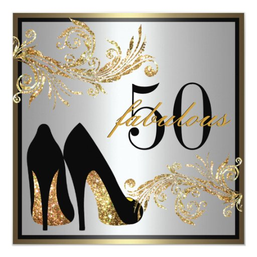 50 And Fabulous Text: Dancing Shoes - Fabulous 50th Birthday Invitation