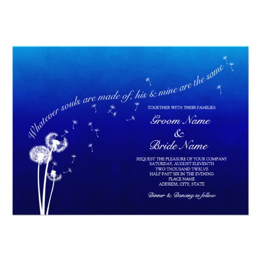 Personalized Royal Blue Wedding Invitations