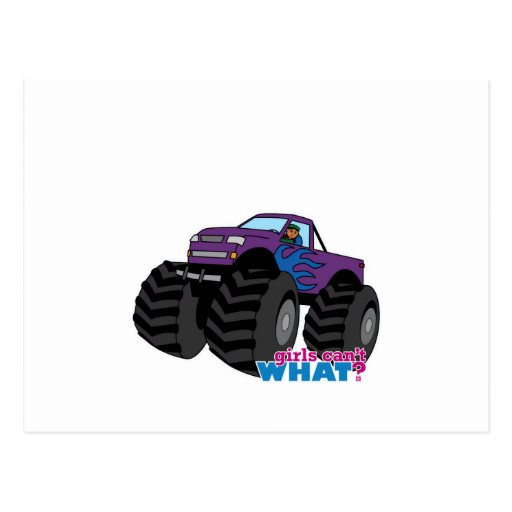 dark girl driving purple monster truck postcard zazzle. Black Bedroom Furniture Sets. Home Design Ideas