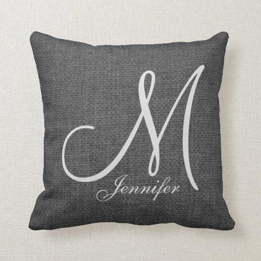 Linen Monogram Throw Pillow: Dark Grey Linen White Monogram Throw Pillow