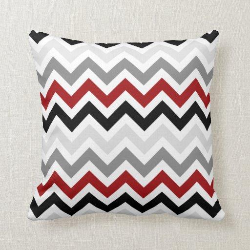 dark red black gray chevron zigzag pattern pillow zazzle. Black Bedroom Furniture Sets. Home Design Ideas