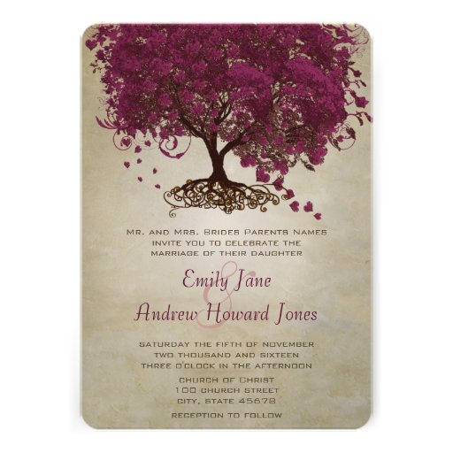 "Sangria Wedding Invitations: Dark Sangria Heart Leaf Tree Wedding Invites 5"" X 7"