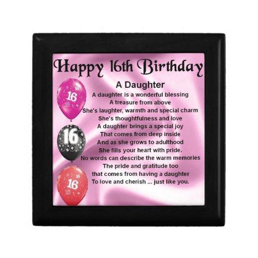 Daughter Poem 16th Birthday Gift Box