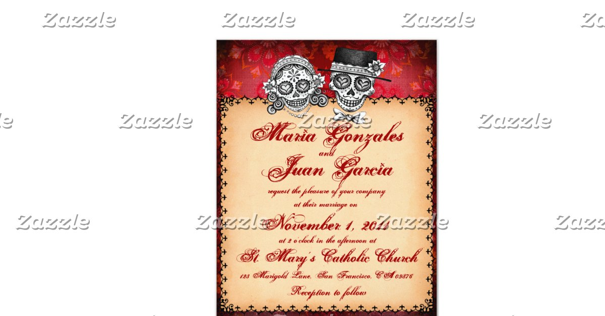 """Day Of The Dead Wedding Invitations: Day Of The Dead Sugar Skull Wedding Invitations 4.25"""" X 5"""