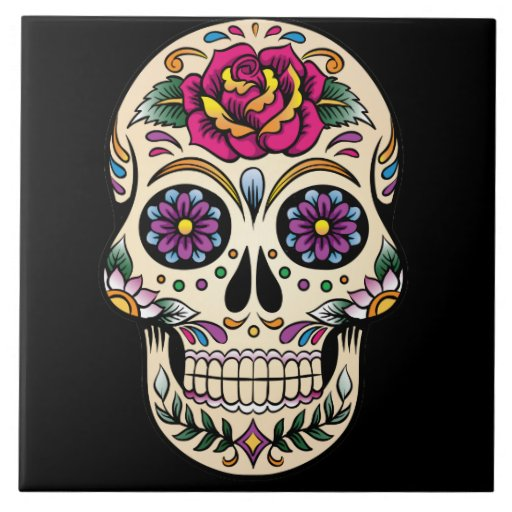 Day Of The Dead Sugar Skull With Rose Ceramic Tile Zazzle