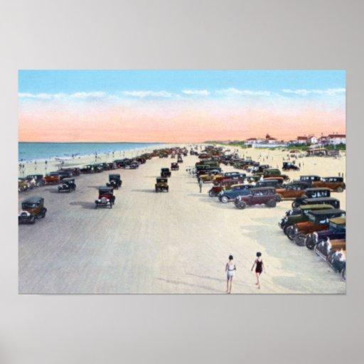 South Daytona Florida: Daytona Beach Florida Beach Scene With Vintage Car Poster
