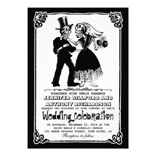 "dead skeleton couple wedding invitations 5"" x 7 ..."