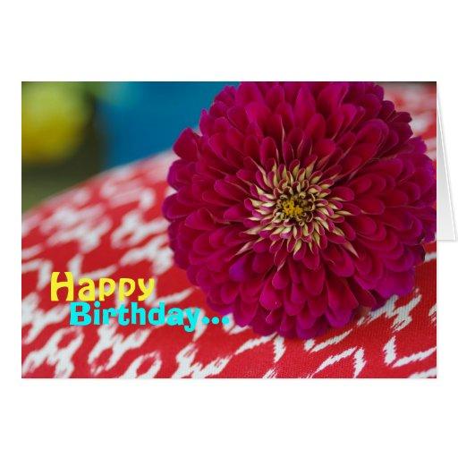 """Debbie"" Happy Birthday Magenta Mum Greeting Card"