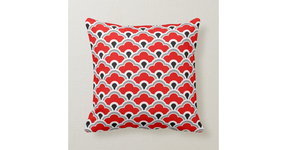 Deco Chinese Scallops, Red, Grey, Black And White Throw