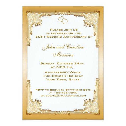 Decorative Wedding Invitation Badge 7: Decorative Gold Border 5x7 Paper Invitation Card