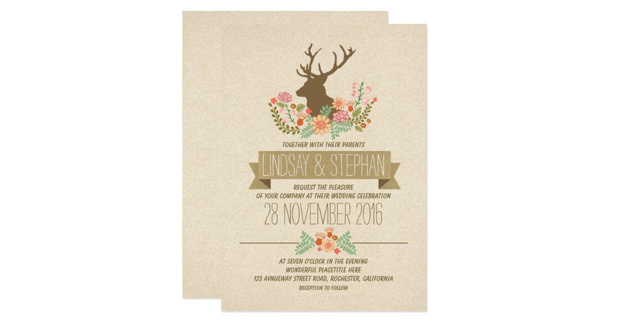 Rustic Romantic Wedding Invitations: Deer Antlers Romantic Rustic Wedding Invitations