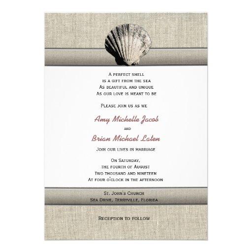Unique Elegant Wedding Invitations: Delicate Seashell Elegant Unique Beach Wedding 5x7 Paper