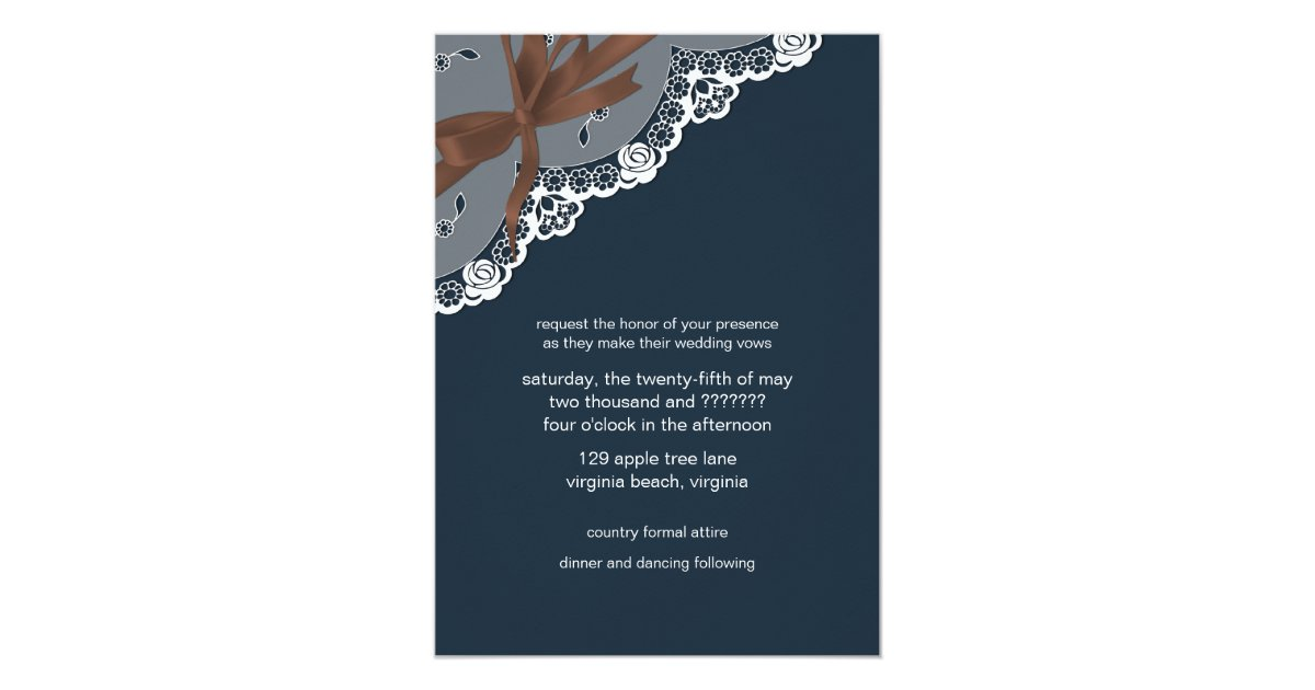 Denim Wedding Invitations: Denim Lace Ribbon & Bow Wedding Invitation