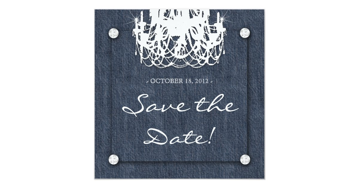 Denim Wedding Invitations: Denim N Diamonds Wedding Invitation Chandelier 1