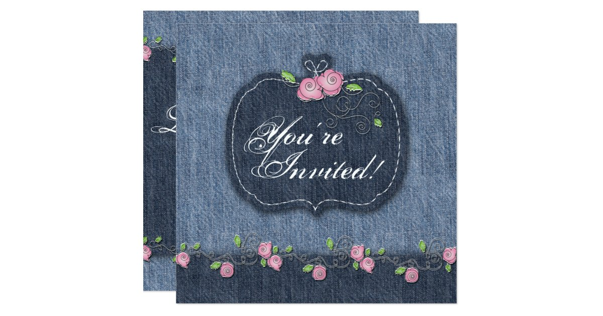 Denim Wedding Invitations: Denim N Roses Wedding Invitation Western