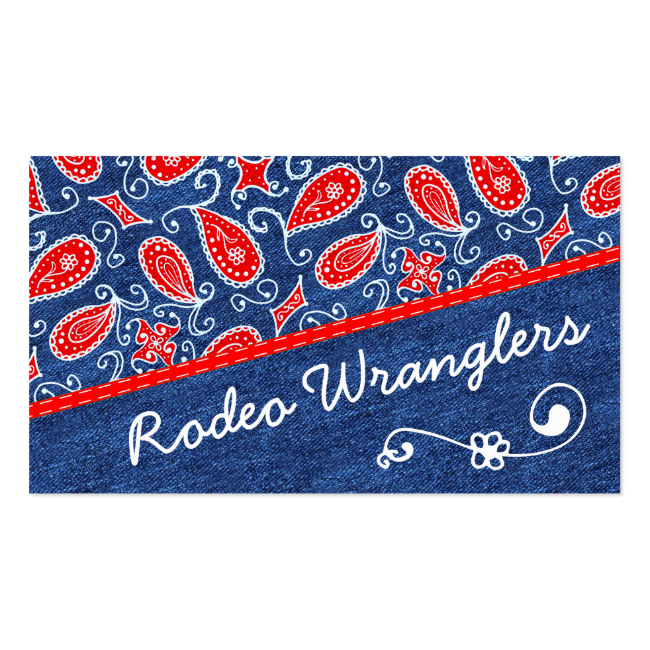 Denim Paisley Cute Floral Red White and Blue Jeans Pack Of Standard Business Cards