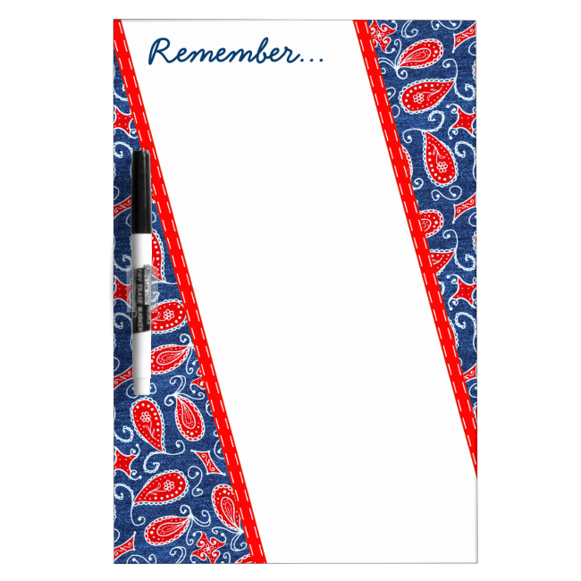 Denim Paisley Cute Floral Red White and Blue Jeans Dry-Erase Whiteboard