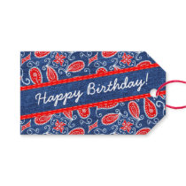 Denim Paisley Cute Floral Red White and Blue Jeans Pack Of Gift Tags