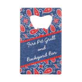 Denim Paisley Cute Floral Red White and Blue Jeans Wallet Bottle Opener