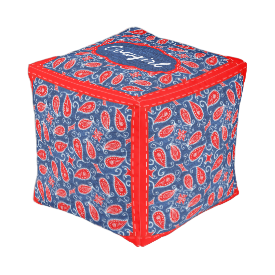 Denim Paisley Cute Floral Red White and Blue Jeans Cube Pouf