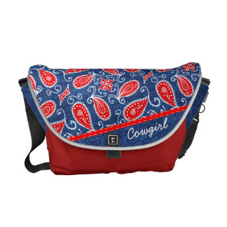 Denim Paisley Cute Floral Red White and Blue Jeans Courier Bag