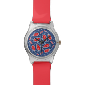Denim Paisley Cute Floral Red White and Blue Jeans Watch