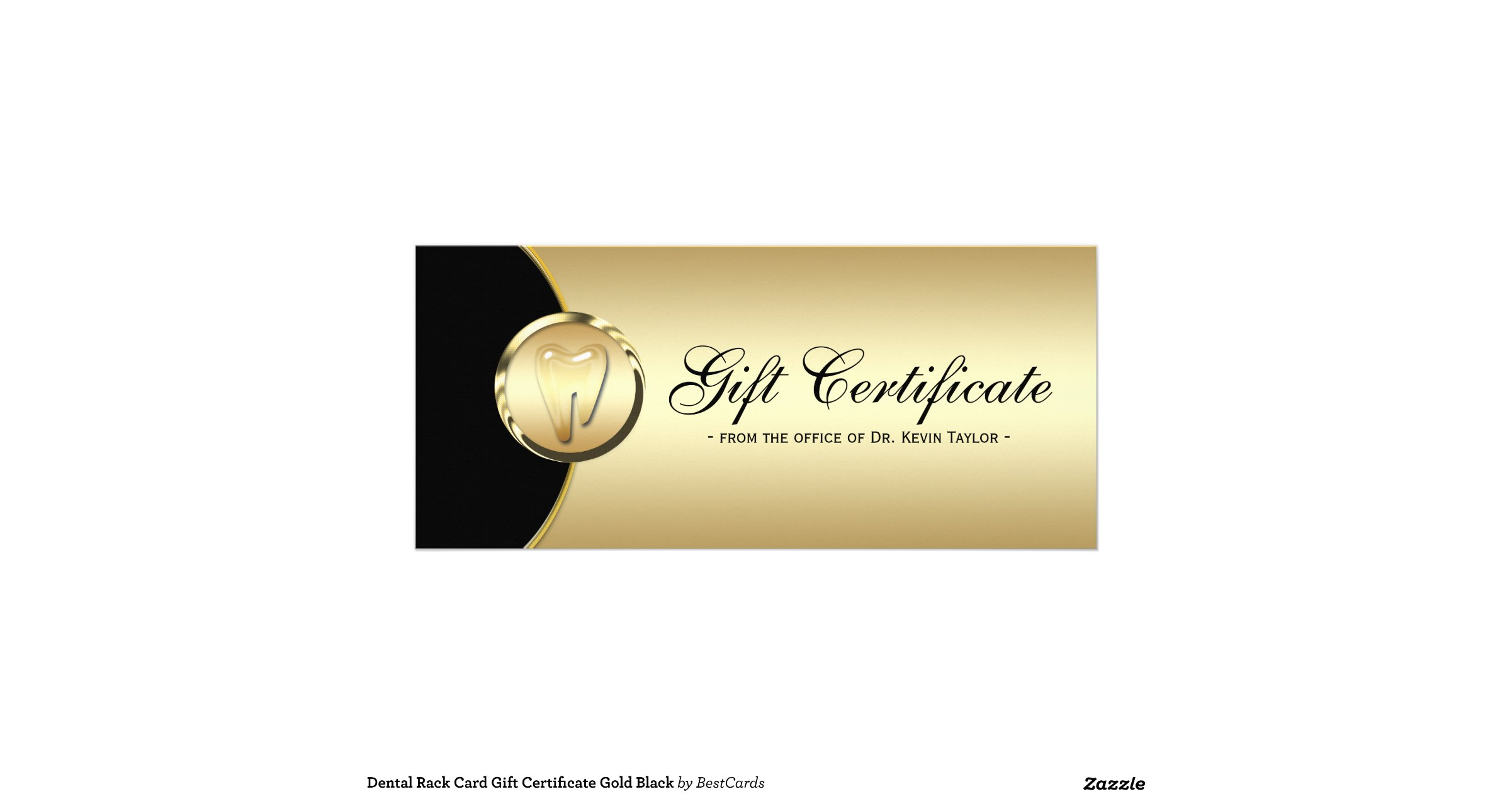 Dental rack card gift certificate gold black for Dental gift certificate template