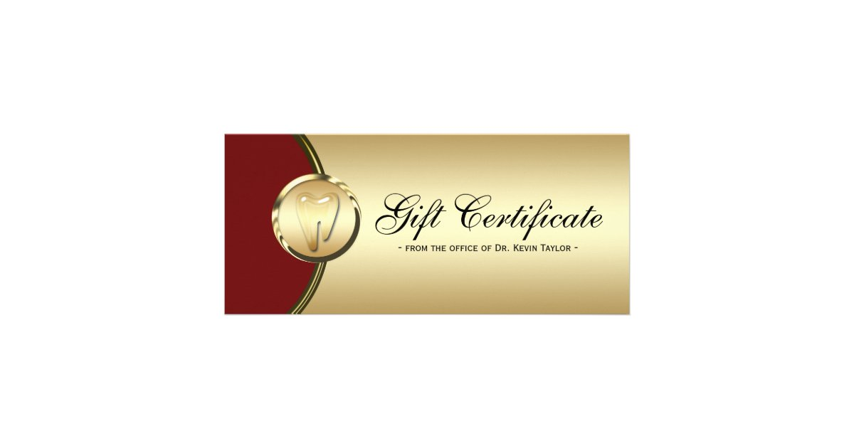 Dental rack card gift certificate gold molar red zazzle for Dental gift certificate template