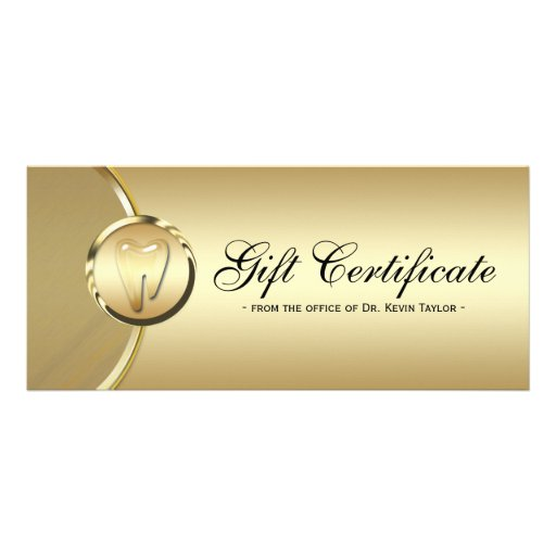 dental gift certificate template dental rack card gift certificate gold molar tooth zazzle