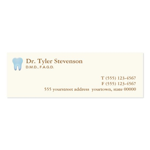Dentist appointment card double sided mini business cards for Dental gift certificate template