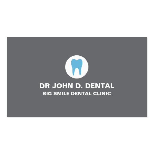 Dentist Dental Gray Business Card With Tooth Logo