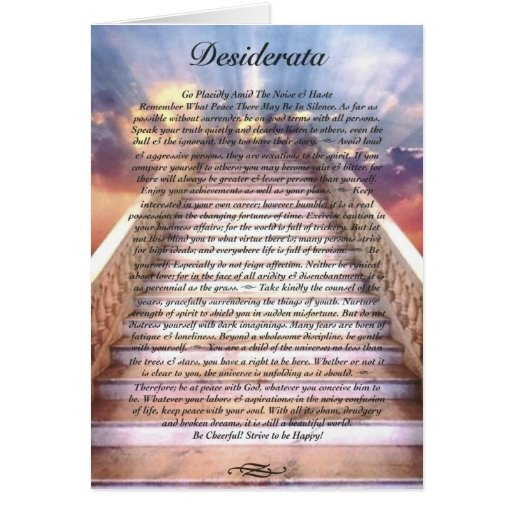 desiderata poem card on stairway to heaven zazzle. Black Bedroom Furniture Sets. Home Design Ideas