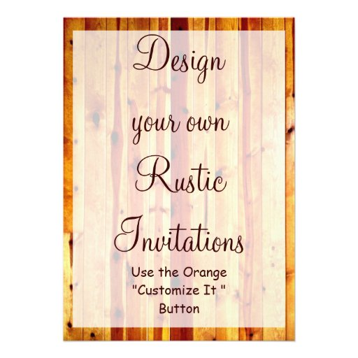 "Invitation Maker Design Your Own Custom Invitation Cards: Design Your Own Rustic Invitations Blank Template 5"" X 7"