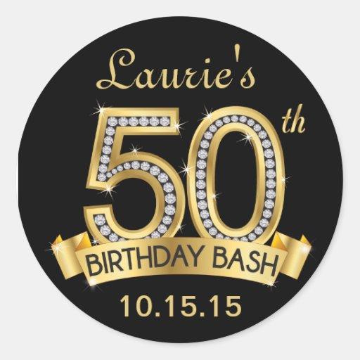 Diamond 50th Birthday Stickers