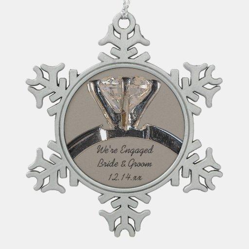 Diamond Engagement Ring On Gray Snowflake Pewter Christmas