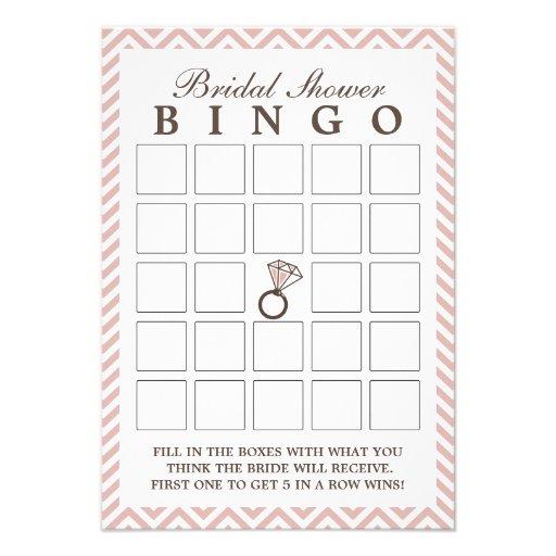 Diamond Ring Pink Zigzag Bridal Shower Bingo Cards 35 X 5 ael5PLWX