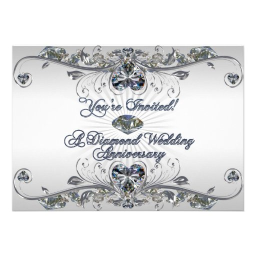 "Diamond Wedding Invitation Label: Diamond Wedding Anniversary Invitation Card 5"" X 7"