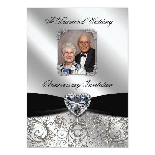 Diamond Wedding Invitation Label: Diamond Wedding Anniversary Photo Invitation Card