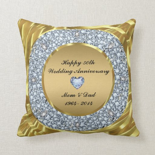 Damask 50th Wedding Anniversary Throw Pillow | Zazzle |50th Wedding Anniversary Pillows