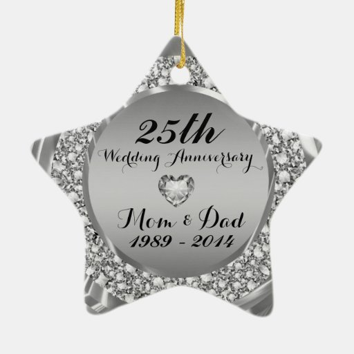 Diamonds & Silver 25th Wedding Anniversary 2 Double-Sided ...