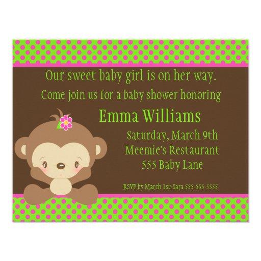 "Diddles Monkey Girl Baby Shower Invitation 4.25"" X 5.5"