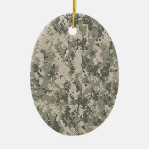 Digital Camouflage Double-Sided Oval Ceramic Christmas