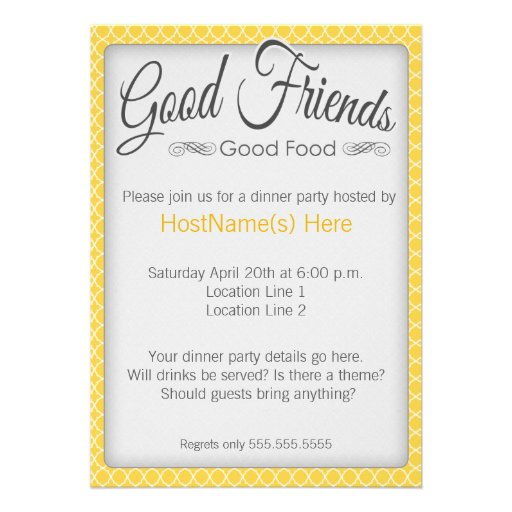 "Dinner Party Invitations: Dinner Party Invitations In Yellow 5"" X 7"" Invitation Card"