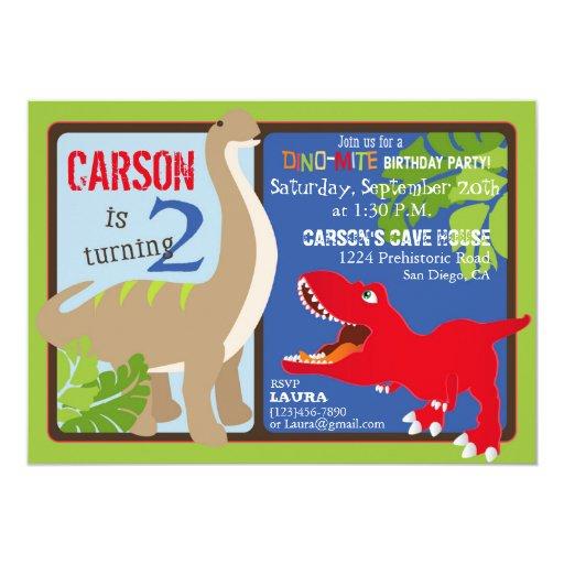 Dinosaur Second Birthday Invitation Card