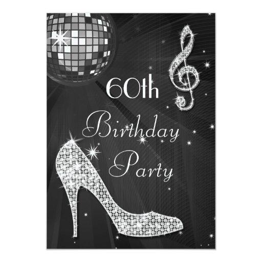Disco Ball And Heels Black Amp Silver 60th Birthday Card