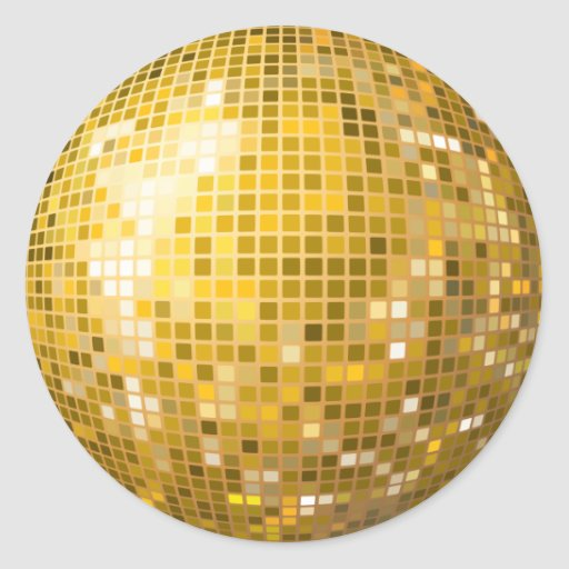 Disco Ball Gold Sticker | Zazzle