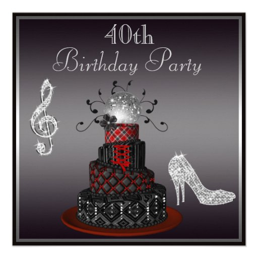 Disco Diva Cake Silver Heels 40th Birthday Announcements